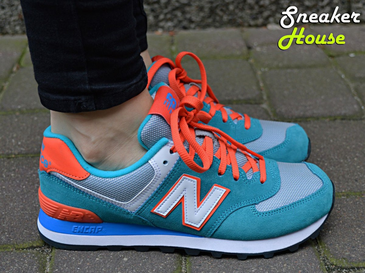 new balance 574 orange blue